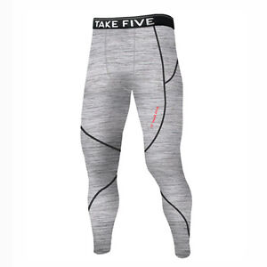 Complexé Take Five Mens Lined Skin Tight Compression Base Layer Running Pants Gray Np514 Artisanat Exquis;