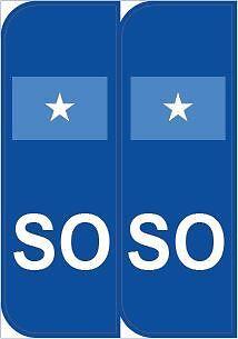 2 SO Somalia Euro car Number Plate Stickers Self-adhesive vinyl stika.co