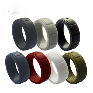 Men-039-s-Silicone-Wedding-Band-Ring-Working-Sports-Rubber-8mm-Size-8-9-10-11-12-13