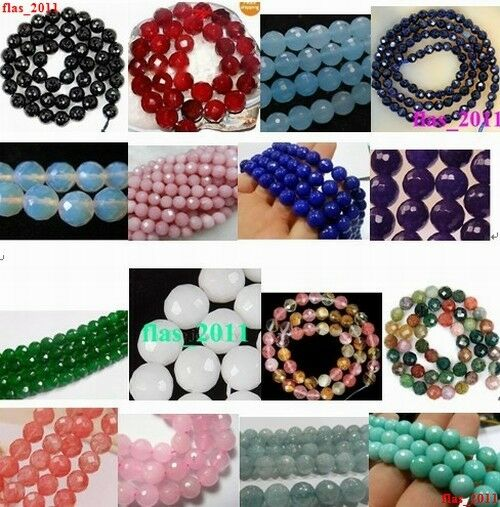 18-color Faceted AAA+++ Natural Ruby &Jade&Agate Gemstone Round Loose Beads 15''