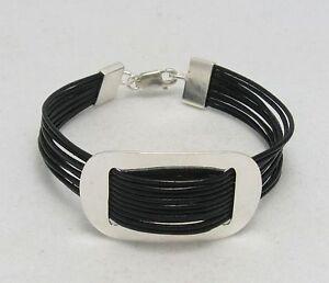 Sterling-Silber-Armband-mit-echtem-Leder-massiv-punziert-925-handgefertigt