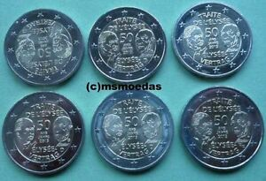 Deutschland Frankreich 6 X 2 Euro Gedenkmünzen 2013 Adfgjrf
