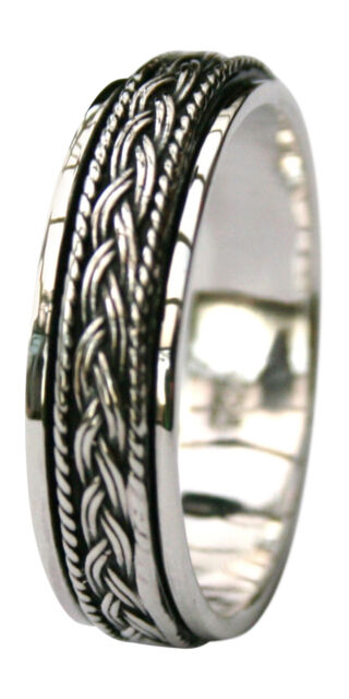 Mens/Ladies 925 Sterling Silver Ring Celtic Rope 7mm Spinner Finger/Thumb Ring