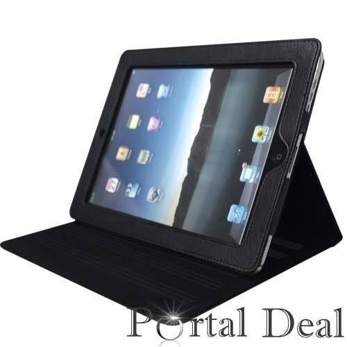 MAGNETIC LEATHER SMART COVER CASE FOR APPLE IPAD 1 IPAD1 WIFI 3G W// STAND BLACK