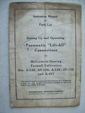 Original Mccormick Lift All Farmall A Av Cultivators Owners Parts Manual