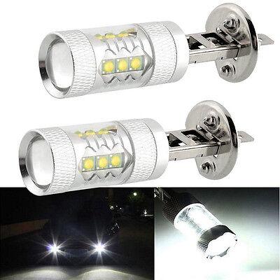 2x HID White H1 80W  LED Bulbs Car Auto DRL Drving Fog Light Lamp Head Light