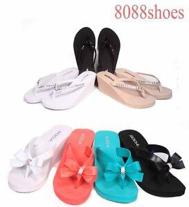 94ba6efea253c Women s Rhinestone Flower Wedge Thong Beach Sandals Flip Flops Shoes ...