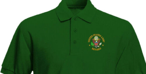 US Army RETIRED Patriotic Veteran Military Embroidered Polo Shirt
