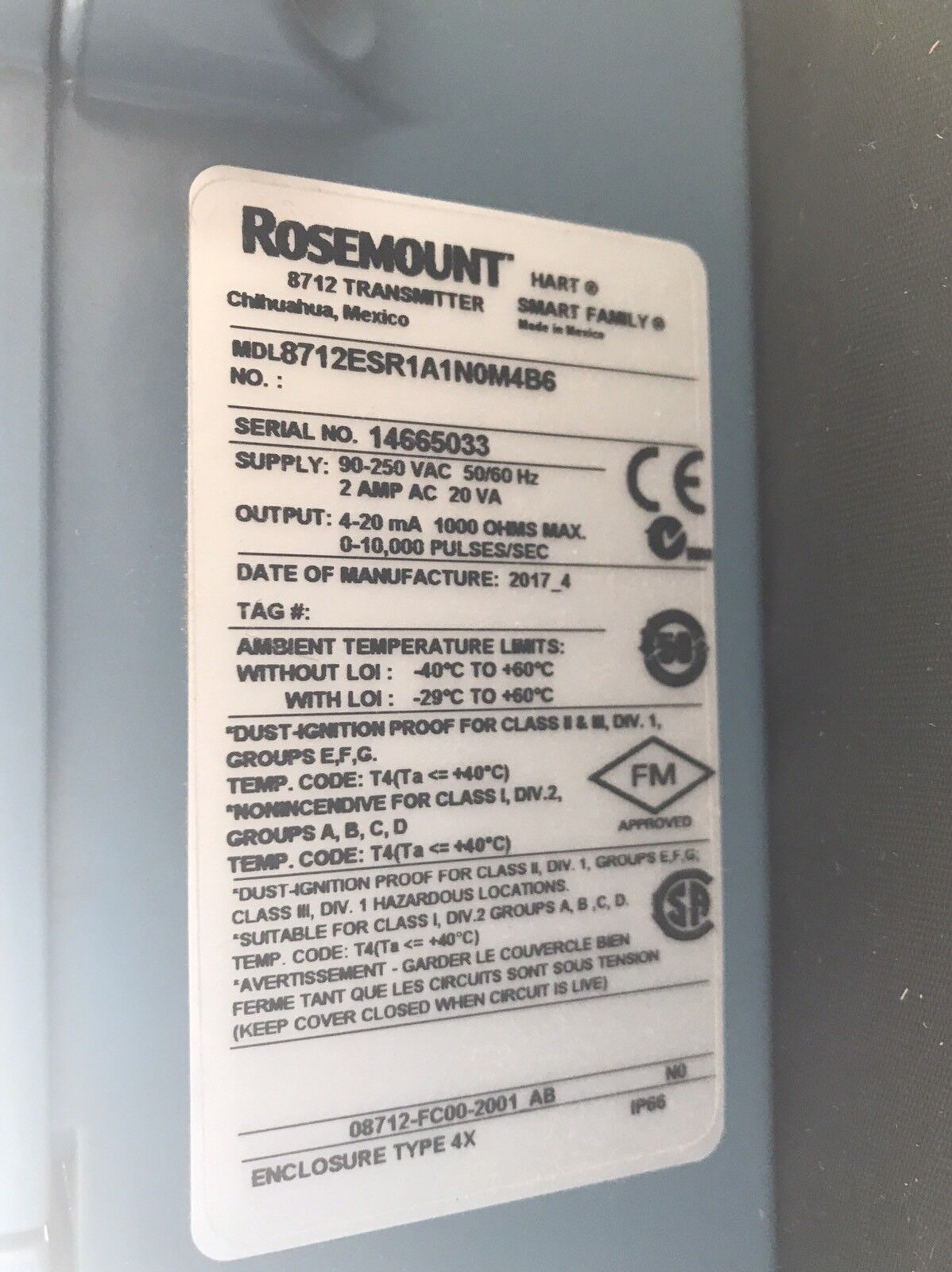 Emerson Rosemount 8712esr1a1n0m4b6 Smart Flow Transmitter 8712 Ebay Simple Fm Circuit Group Picture Image By Tag