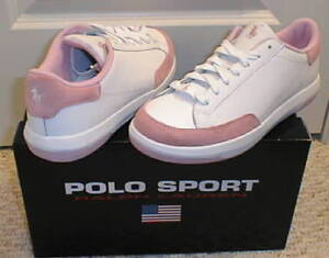 NEW POLO SPORT RALPH LAUREN Womens Leather Shoes Sneakers 7B 5.5 UK 37.5 EUR NIB