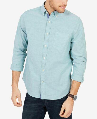 $129 Nautica Men Classic-Fit Stretch Green Long Sleeve Logo Oxford Top Shirt 3XL