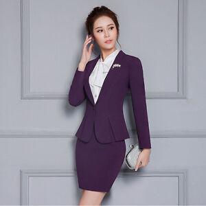 Image Is Loading Elegant Purple Suits Blazers Women Career Wear Office