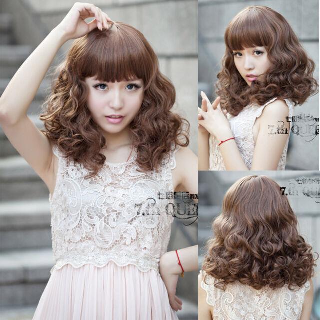fashion womens girls curly wavy short hair cosplay brown full wigs daily wear