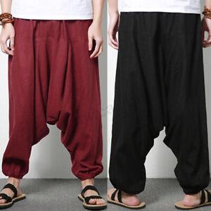 Casual-Men-039-s-Linen-Pants-100-Cotton-Wide-Leg-Pants-Yoga-Joggers-Harem-Trousers
