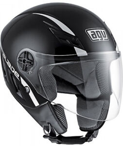 Casco-Helmet-Demi-Jet-Capacete-AGV-Blade-Solid-Nero-Black-Lucido-GlossTaglia-L