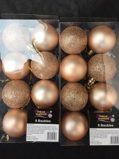 16 X Rose Gold Christmas Tree Baubles Decorations 5cm Glitter Plain
