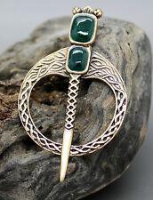 Bronce Irlandés Celta Broche Pin Verde Ónix Espada, Bufanda Kilt Con Solapa, Ulster escoceses