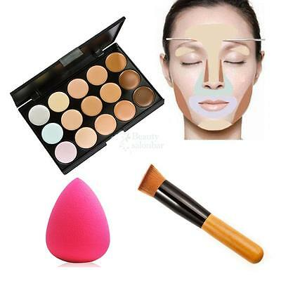 New 15 Color Contour Face Cream Makeup Party Concealer Palette Sponge Puff Brush