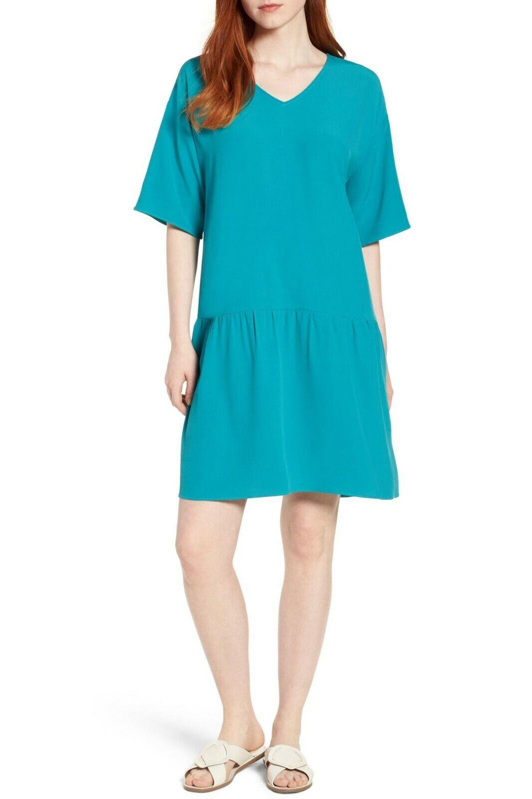 NWOT  Eileen Fisher Tencel Crepe Drop-Waist Dress