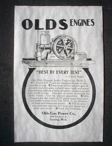"756L VINTAGE REPRINT ADVERT OLDS HIT /& MISS GAS GASOLINE ENGINE 1907 AD 11/""x17/"""