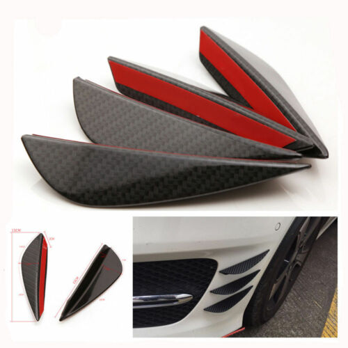 4pcs Carbon Fiber Fit Front Bumper Lip Splitter Fins Body Spoiler Canard Valence