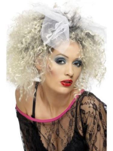 80/'s Wild Child Wig Madonna Blonde Crimped 1980s Fancy Dress Costume Wig