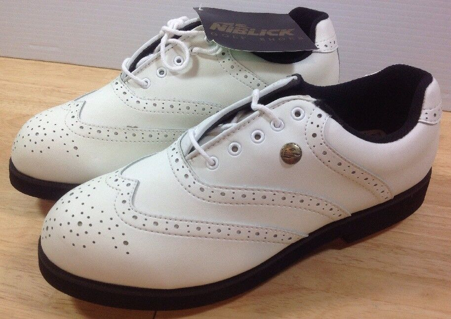 NEW Niblick Outback Men's Golf Saddle Shoes White Leather Spikes Isoliner Sz 9