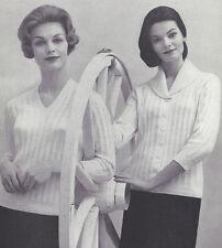 Vintage Knitting PATTERN to make V Pullover Shawl Collar Cardigan Sweater VShawl