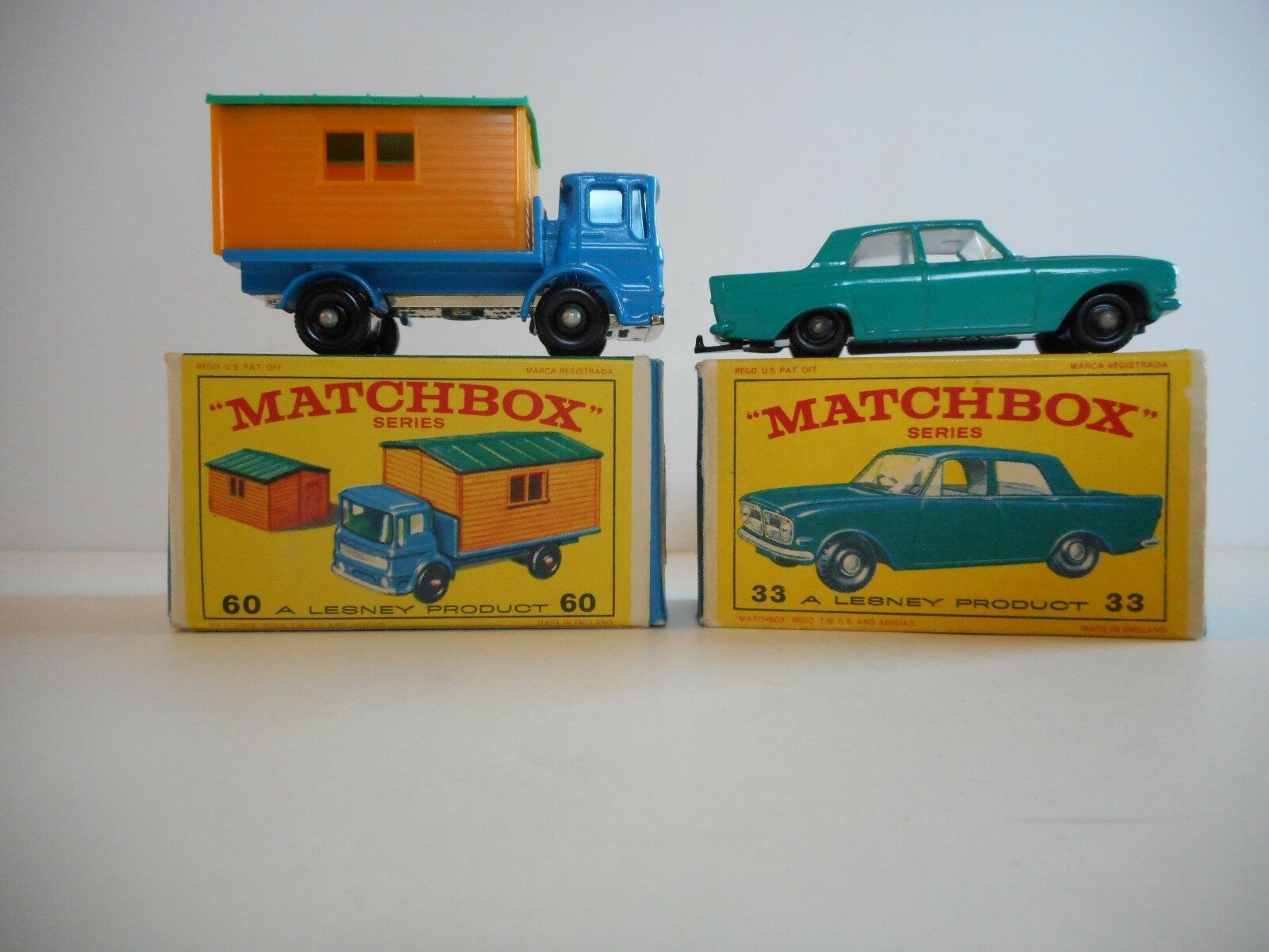 VINTAGE MATCHBOX LESNEY nº 60 Camion & BUREAU DE CHANTIER &   33 Ford Zephyr Comme neuf IN BOX