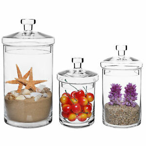 Set-of-3-Glass-Kitchen-amp-Bath-Canisters-Centerpiece-Apothecary-Jars-w-Lids