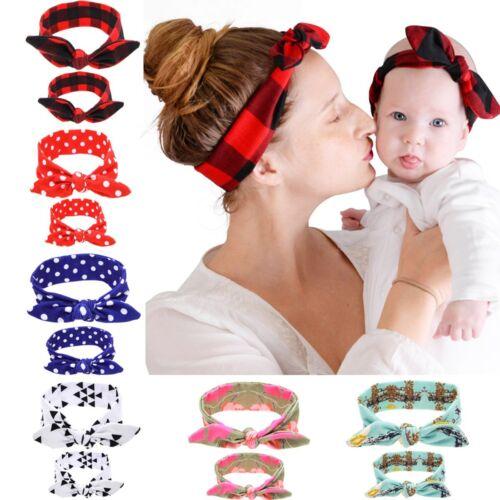 2PCS Mum Baby Mother Daughter Girl Parent Child Bow Knot Headband Hairband Set