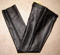 Vintage Echtes Leder Glamorous Black Leather Pants W/ Buckle (d 38/us 8)