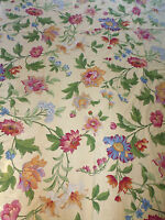 tissu textile coupon ameublement imprimé fleur jaune Boussac année 1990 / A