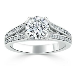 1.90 Ct Round Solitaire Moissanite Anniversary Ring 14K Solid White Gold Size 8