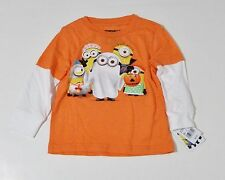 NWT Despicable Me Minion Made Gray Halloween BOO T-Shirt Toddler Long Sleeves