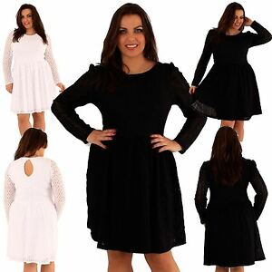 7a39e43fc422 New Womens plus size lace Lined Full Sleeve Party Skater Dress 18-24
