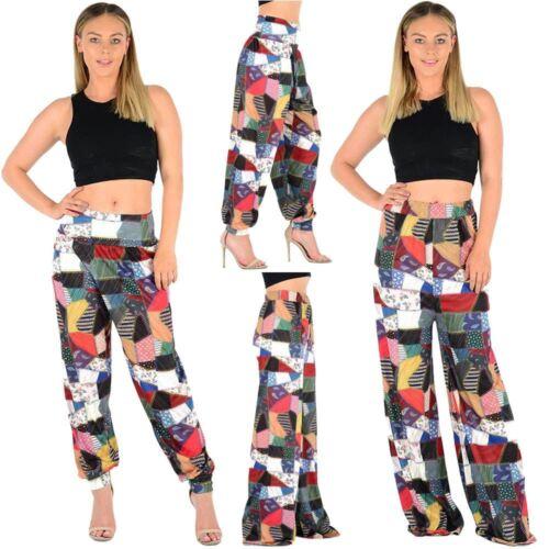 New Ladies Wide Leg High Waist Patchwork Print Summer Palazzo Ali Baba Pants