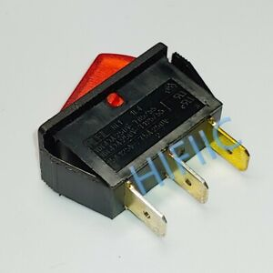 RLEIL RL1 Power On Off Rocker Switch 3 Pin 16A 250VAC T125/55 Red Lamp