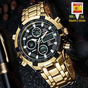 Reloj-Para-Hombre-Dorado-Esfera-Negra-Luz-LED-Digital-Analogico-De-Hombres-Acero