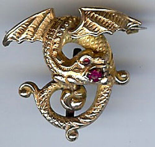 ANTIQUE VICTORIAN gold TONE FLYING DRAGON RHINESTONE EYE WATCH HANGER PIN