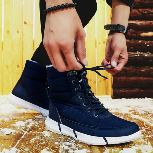 Men/'s Winter Outdoor Waterproof Warm Fur Ankle Snow Boots Cold Weather Boot