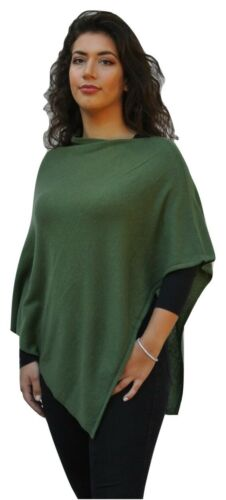 Ladies 100/% Cashmere Luxury Lightweight Poncho Forest Green Handcrafted In Nepal