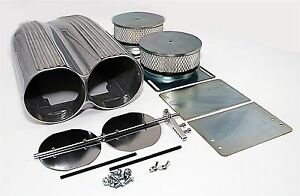 Retro-Finned-Polished-Aluminum-Double-Barrel-Shotgun-Intake-Air-Scoop-Kit-Hotrod