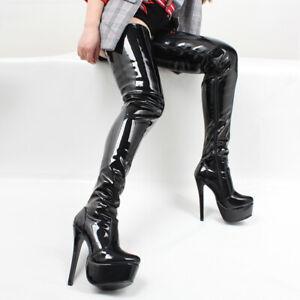 Sexy-Women-Platform-High-Heel-Thigh-High-Boots-Nightclub-Stilettos-Shoes-Plus-Sz