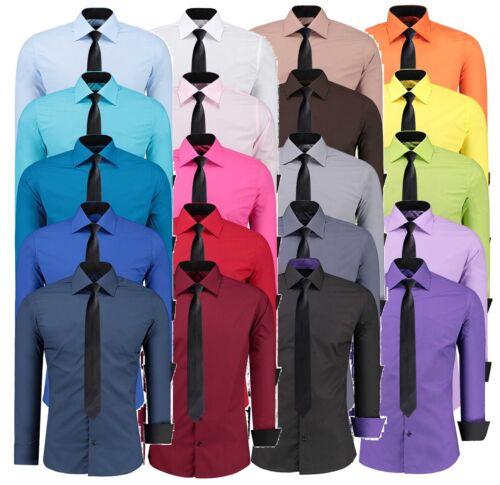 Herren Slim Fit Hemd + Gratis Krawatte Business Hochzeit Freizeit Shirt 12105K