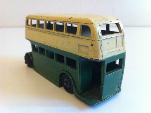 Dinky Toys - 29 C Double Deck Motor Bus (vert / Crème À Roues Noires)