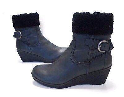 5db9dd75676 Ladies Debenhams Mantaray CHARCOAL Black ankle Wedge Heel Boots Size 4 Great