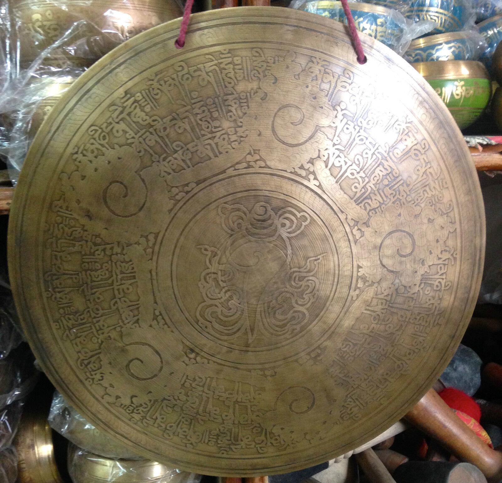 Gong Tibetano 35cm 1,5Kg Meditacion chakra Terapia musical Grabado a mano Nepal
