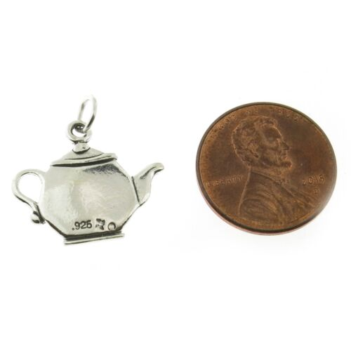 Argent Sterling 925 I love tea Théière charme made in USA