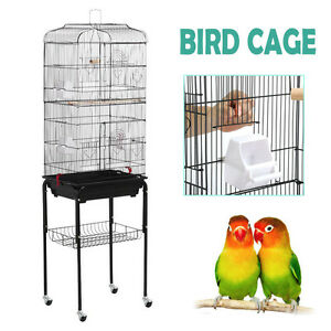 large tall cockatiel parakeet finch canary cage bird cage with black stand new ebay. Black Bedroom Furniture Sets. Home Design Ideas